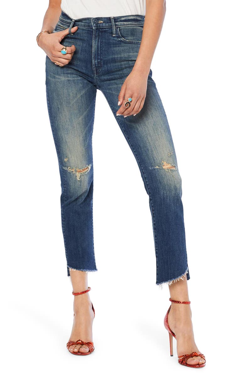 MOTHER The Rascal Ripped High Waist Step Hem Ankle Skinny Jeans, Main, color, 420