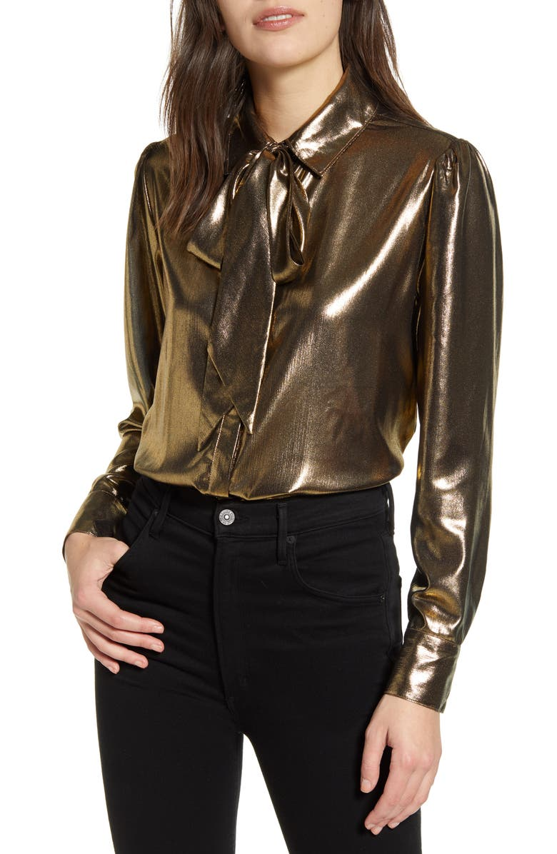 7 FOR ALL MANKIND<SUP>®</SUP> Metallic Tie Neck Blouse, Main, color, 201