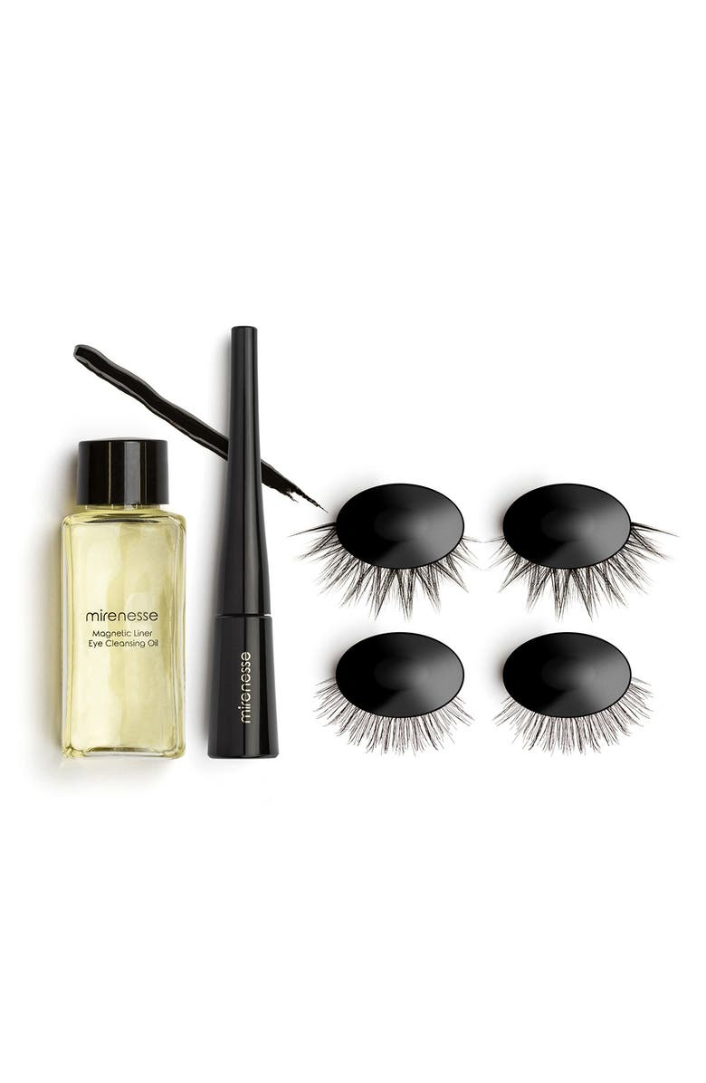 MIRENESSE Magnomatic Magnetic Eyeliner w/ Reuseable Magnetic Lashes Day & Night Kit - Natural Audrey, Main, color, NO COLOR