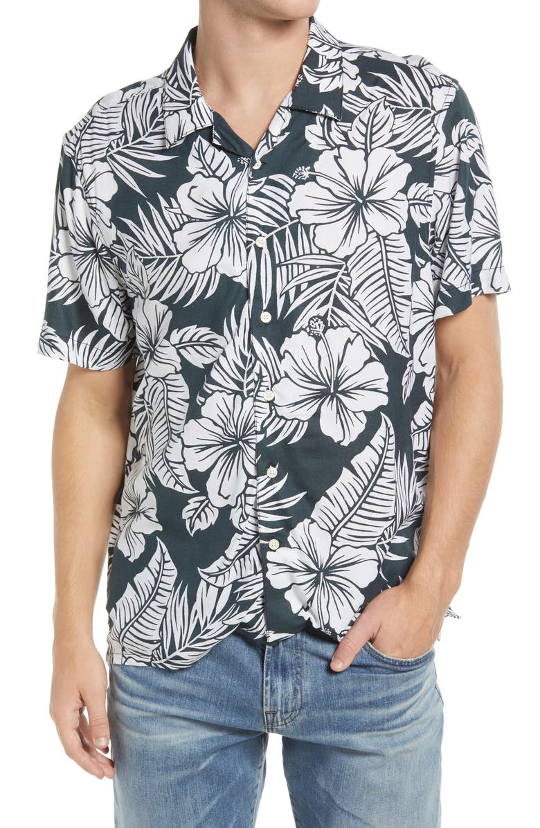 CHUBBIES The Visual Ferner Floral Short Sleeve Button-Up Camp Shirt, Main, color, OXFORD