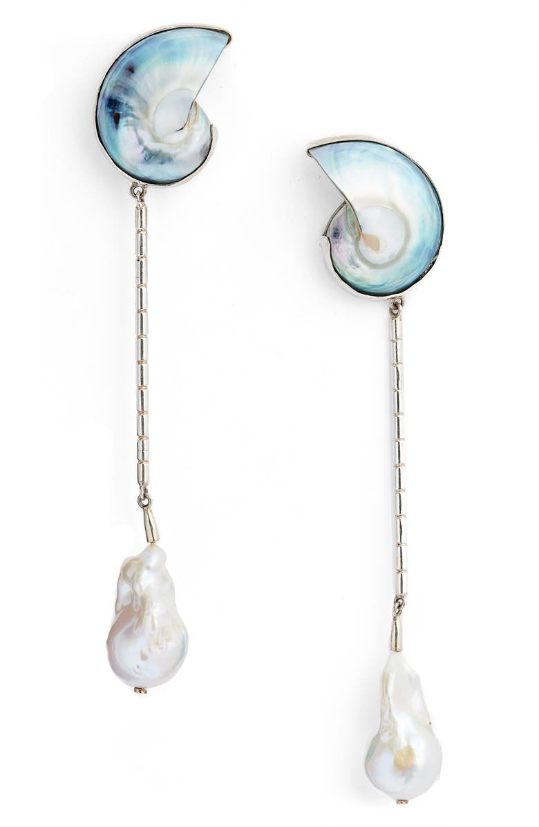 SOPHIE BUHAI Shell & Freshwater Pearl Linear Drop Earrings, Main, color, 040