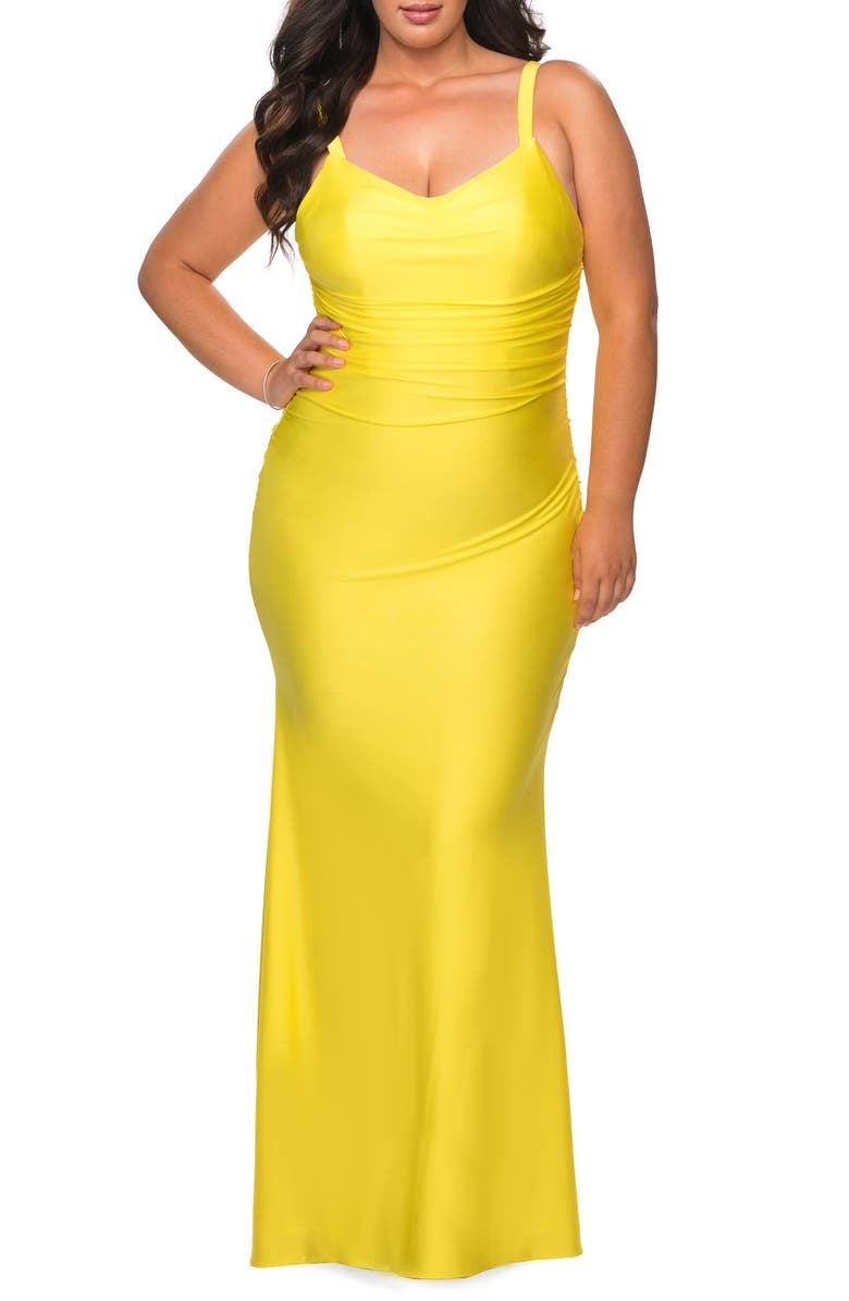 LA FEMME Ruched Satin Jersey Gown, Main, color, Yellow