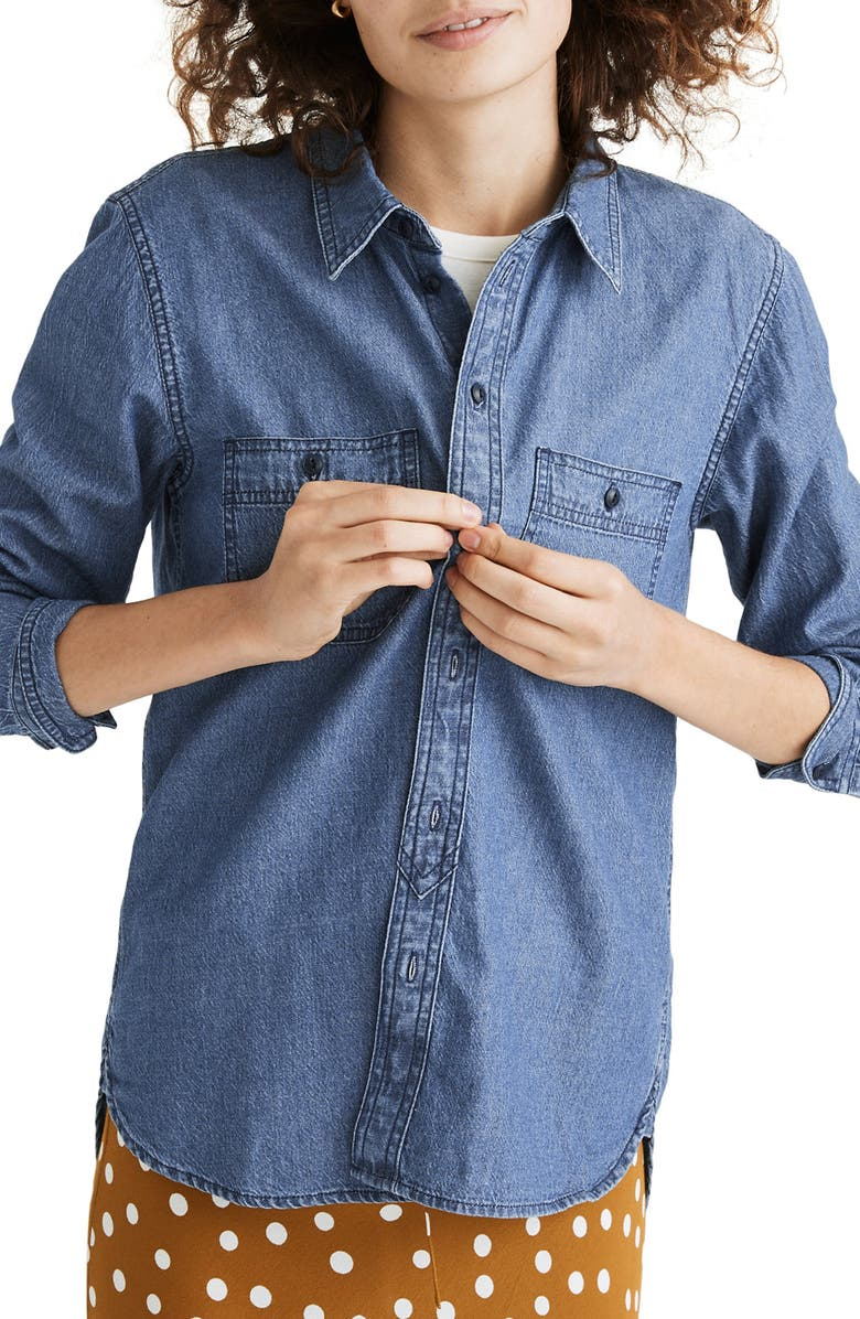 MADEWELL Chambray Classic Button-Up Shirt, Main, color, OVINGTON WASH