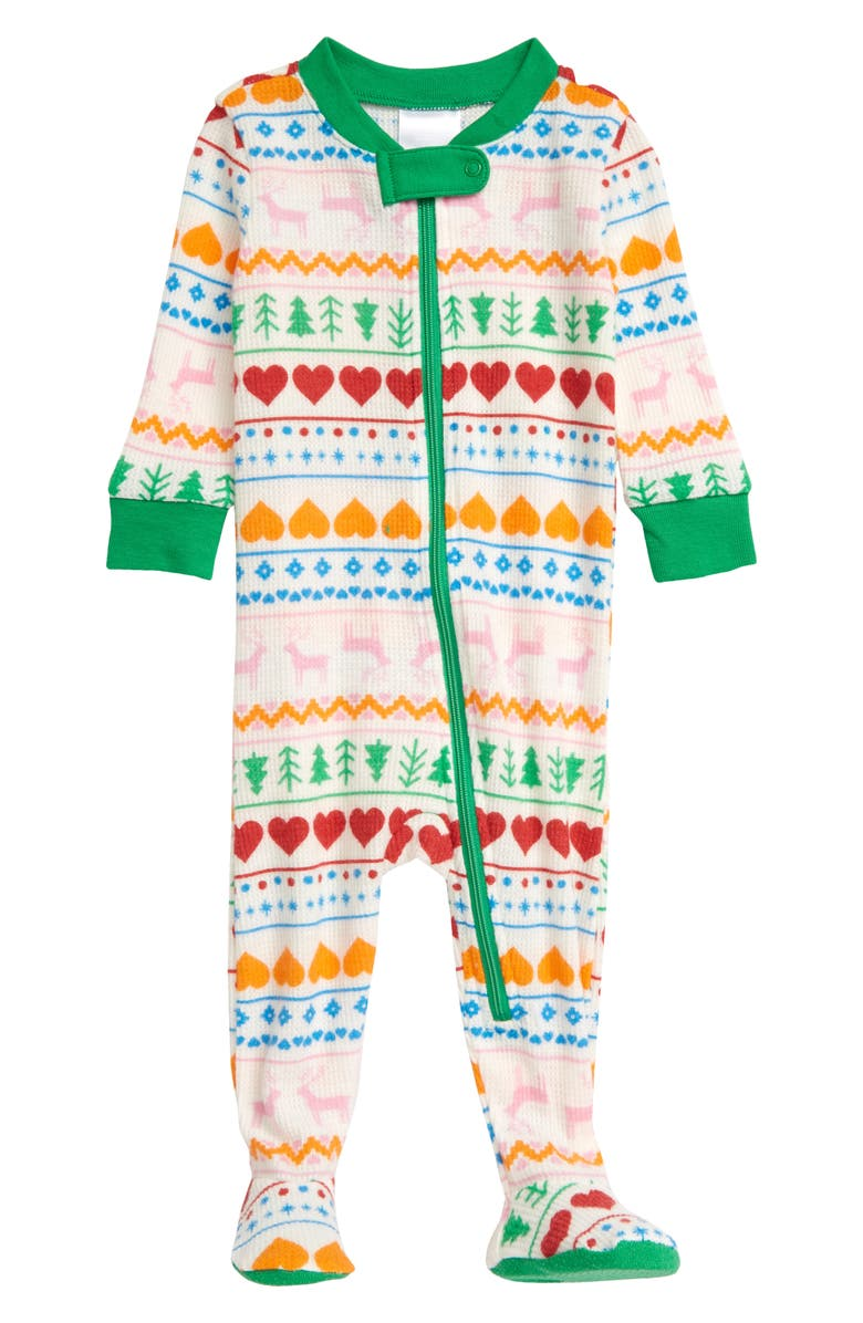 NORDSTROM Thermal Fitted One-Piece Pajamas, Main, color, WHITE MULTI REINDEER FAIRISLE