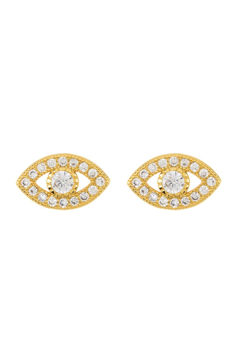 ADORNIA 14K Gold Plated Sterling Silver Swarovski Crystal Evil Eye Stud Earrings, Main, color, YELLOW