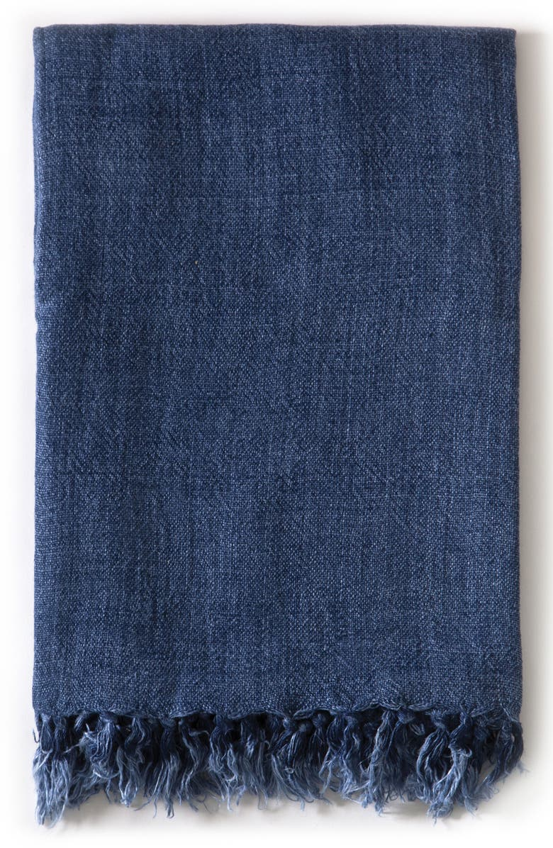 POM POM AT HOME Montauk Big Throw Blanket, Main, color, BLUE