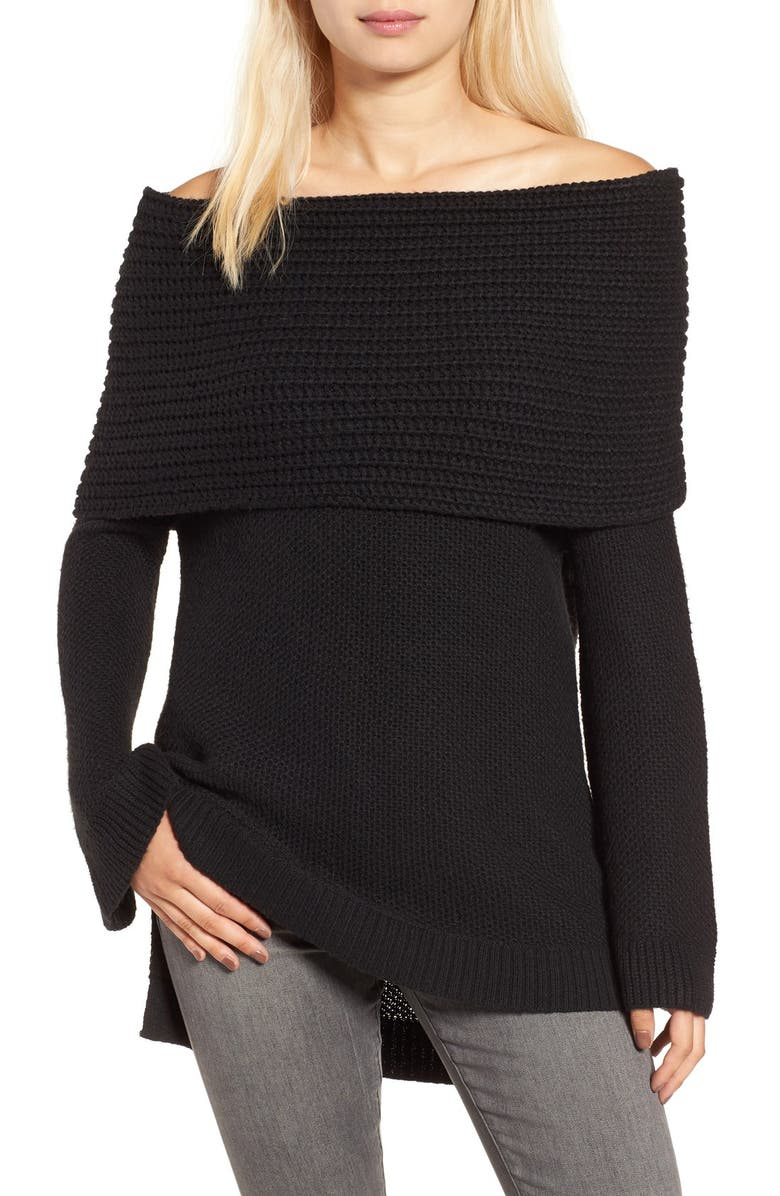 SUN & SHADOW Cowl Off the Shoulder Sweater, Main, color, Black