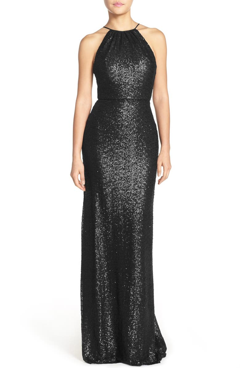 AMSALE 'Chandler' Sequin Tulle Halter Style Gown, Main, color, Black