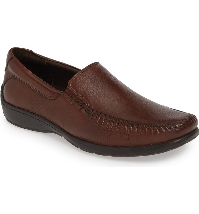 JOHNSTON & MURPHY Crawford Venetian Loafer, Main, color, MAHOGANY LEATHER