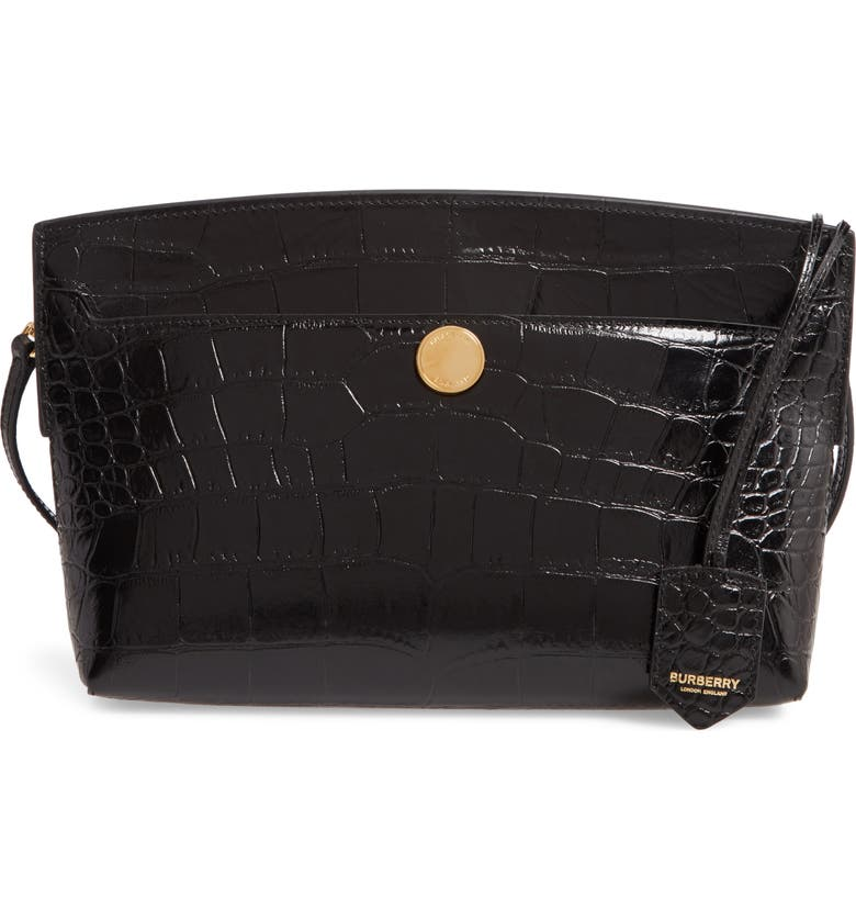 BURBERRY Society Embossed Leather Clutch, Main, color, 001