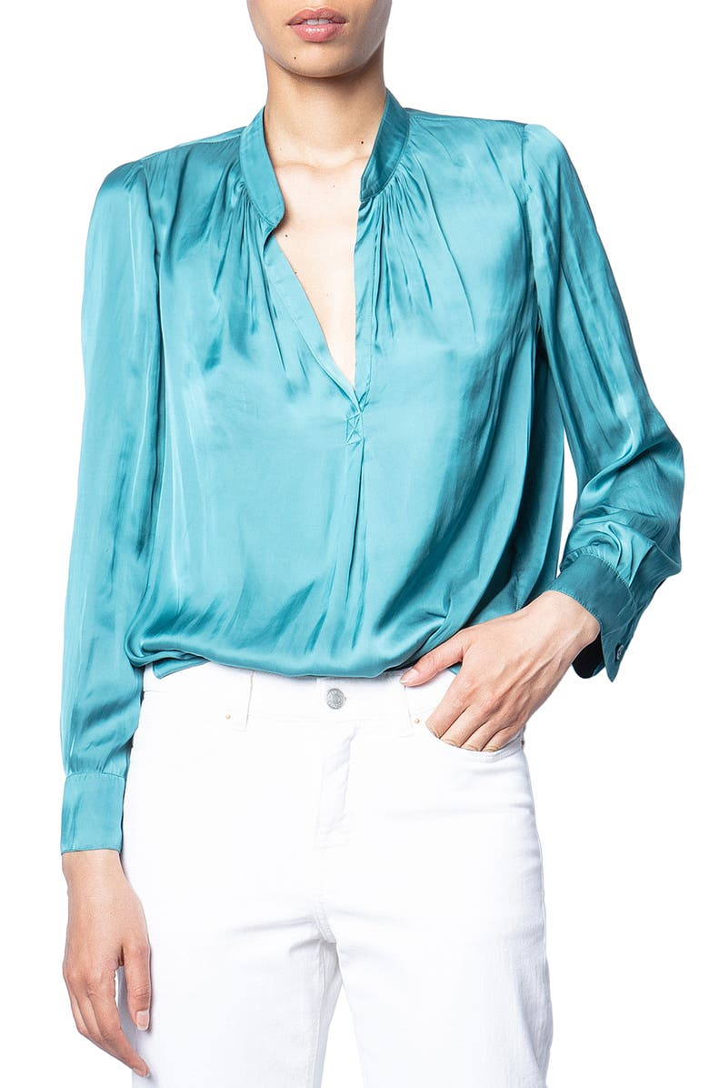 ZADIG & VOLTAIRE Tink Satin Blouse, Main, color, 400