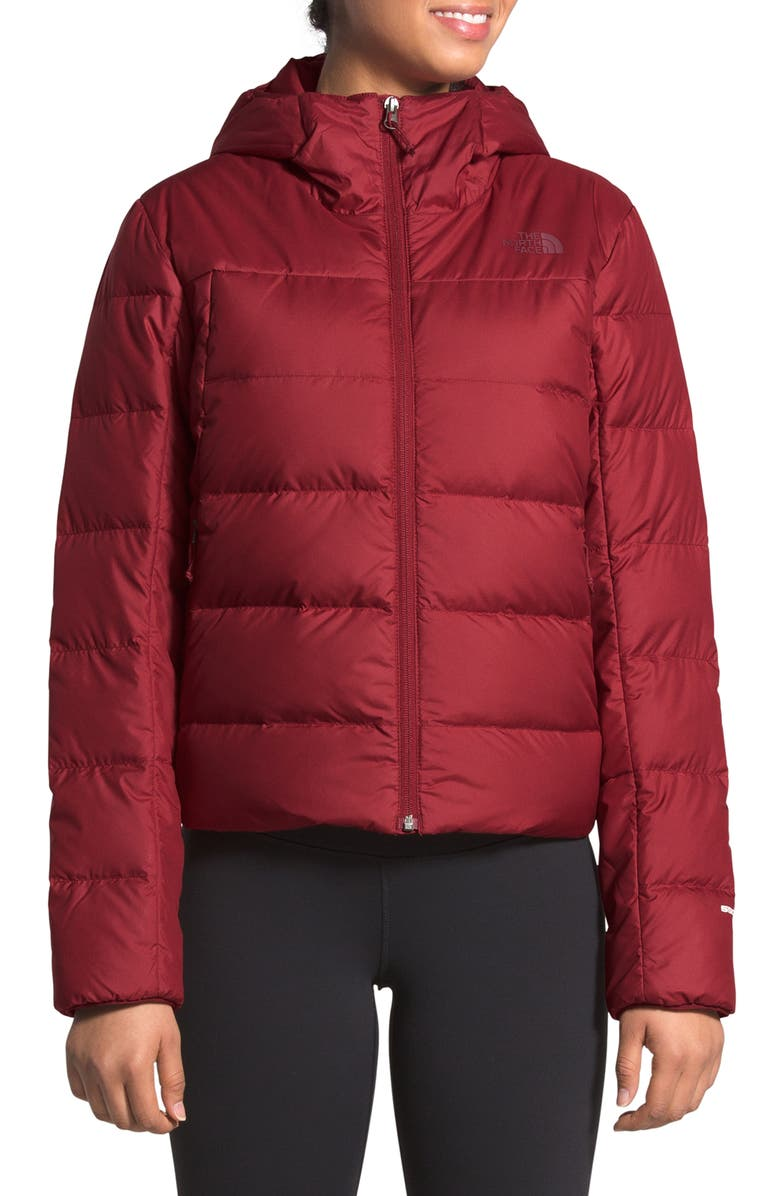 THE NORTH FACE Valle Hooded 550 Fill Power Down Coat, Main, color, POMEGRANATE