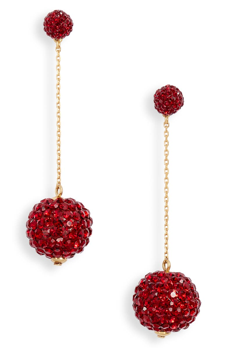 KATE SPADE NEW YORK razzle dazzle linear earrings, Main, color, RED