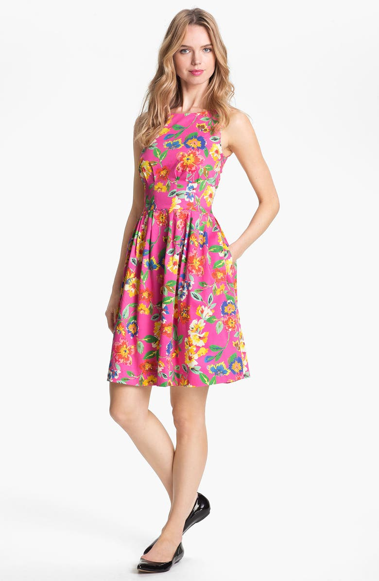 KATE SPADE NEW YORK 'sonja' stretch cotton fit & flare dress, Main, color, BAZOOKA PINK