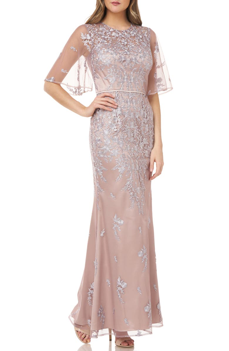 JS COLLECTIONS Floral Embroidered Evening Gown, Main, color, 250