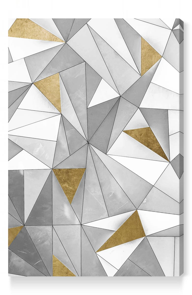 OLIVER GAL Triangular Wall Canvas Wall Art, Main, color, GREY WHITE GOLD