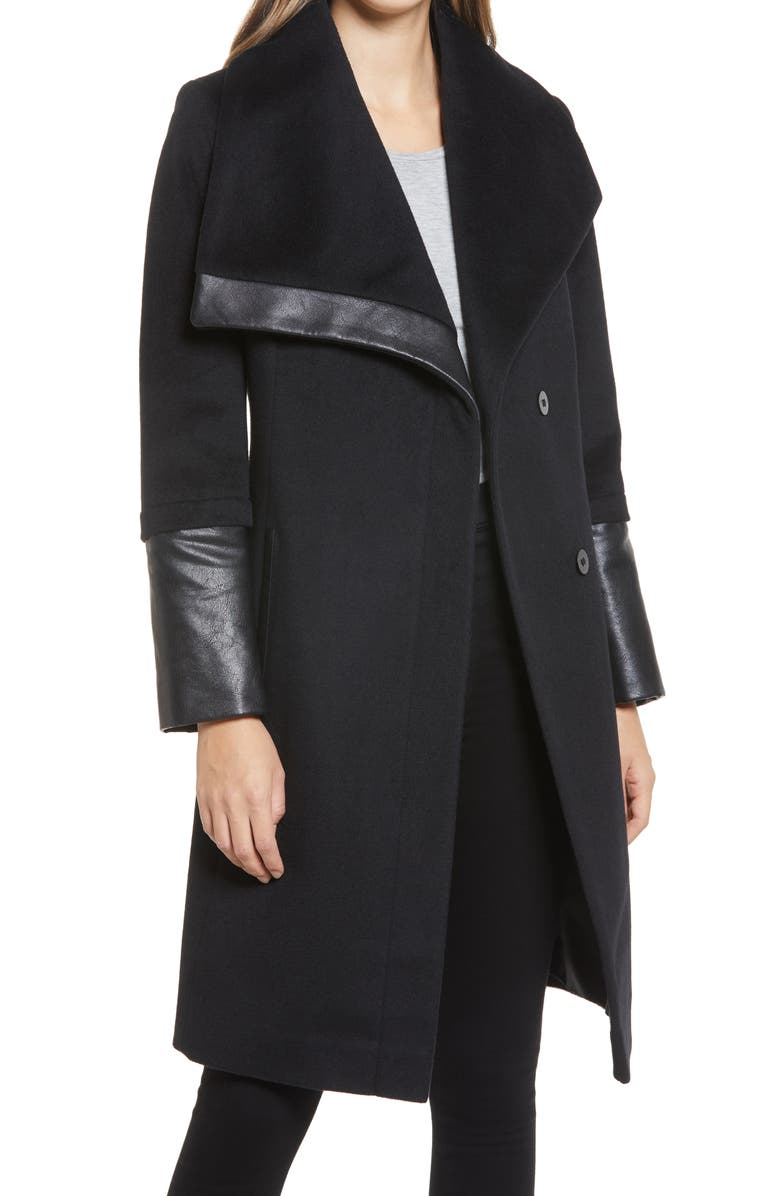 VIA SPIGA Wool and Faux Leather Coat, Main, color, BLACK