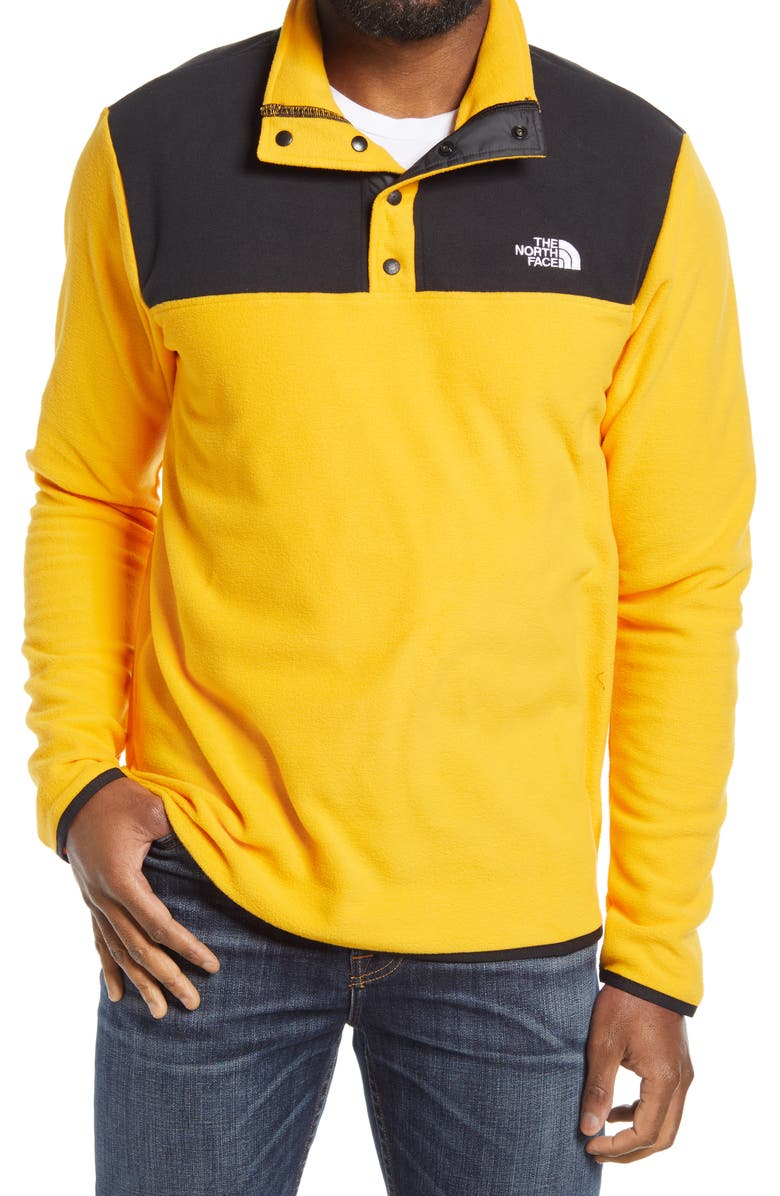 THE NORTH FACE TKA Glacier Snap Neck Pullover, Main, color, SUMMIT GOLD/ TNF BLACK