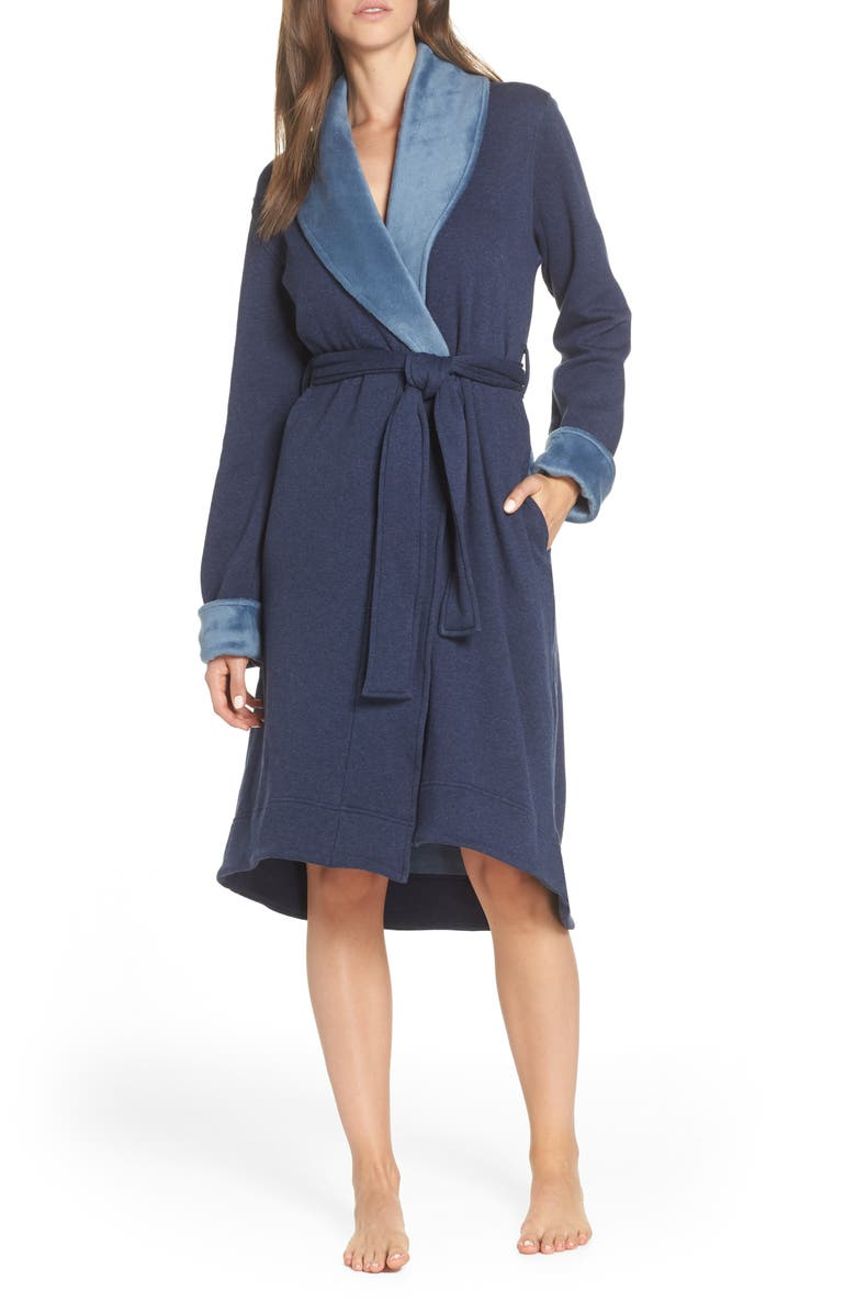 UGG<SUP>®</SUP> Duffield II Robe, Main, color, NAVY HEATHER