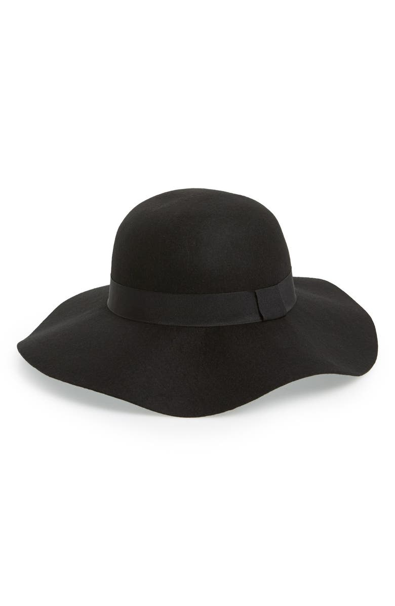 DAVID & YOUNG Floppy Wool Hat, Main, color, Black