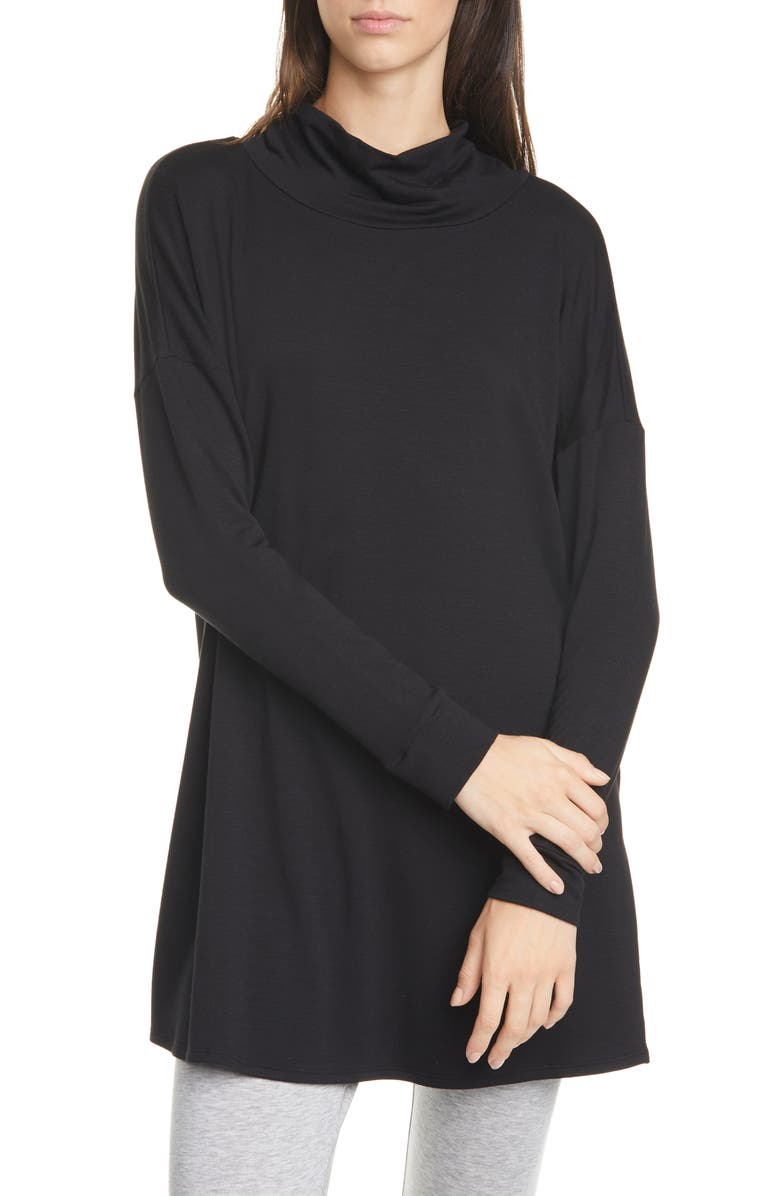 EILEEN FISHER Funnel Neck Knit Tunic, Main, color, 001