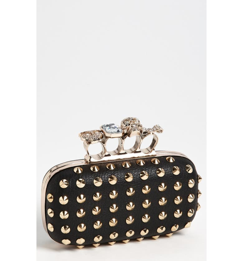 TASHA 'Finger' Studded Clutch, Main, color, 001