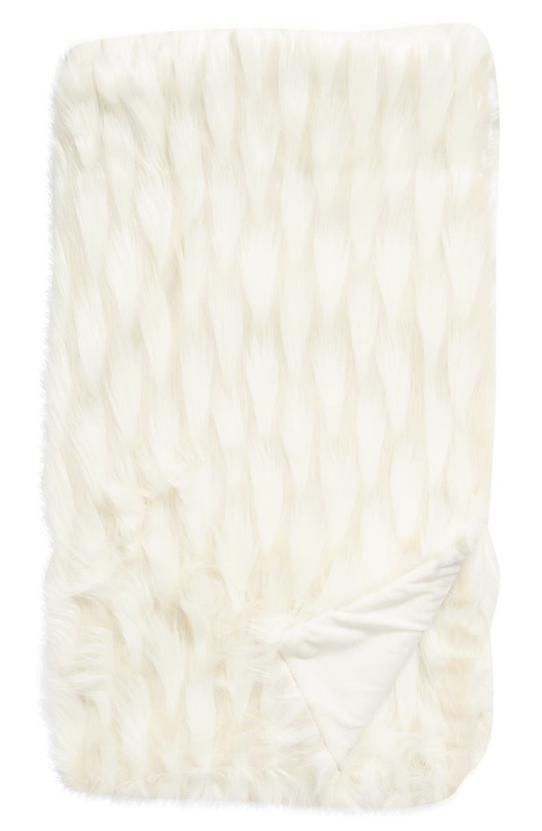 RACHEL PARCELL Statement Faux Fur Throw Blanket, Main, color, IVORY MULTI