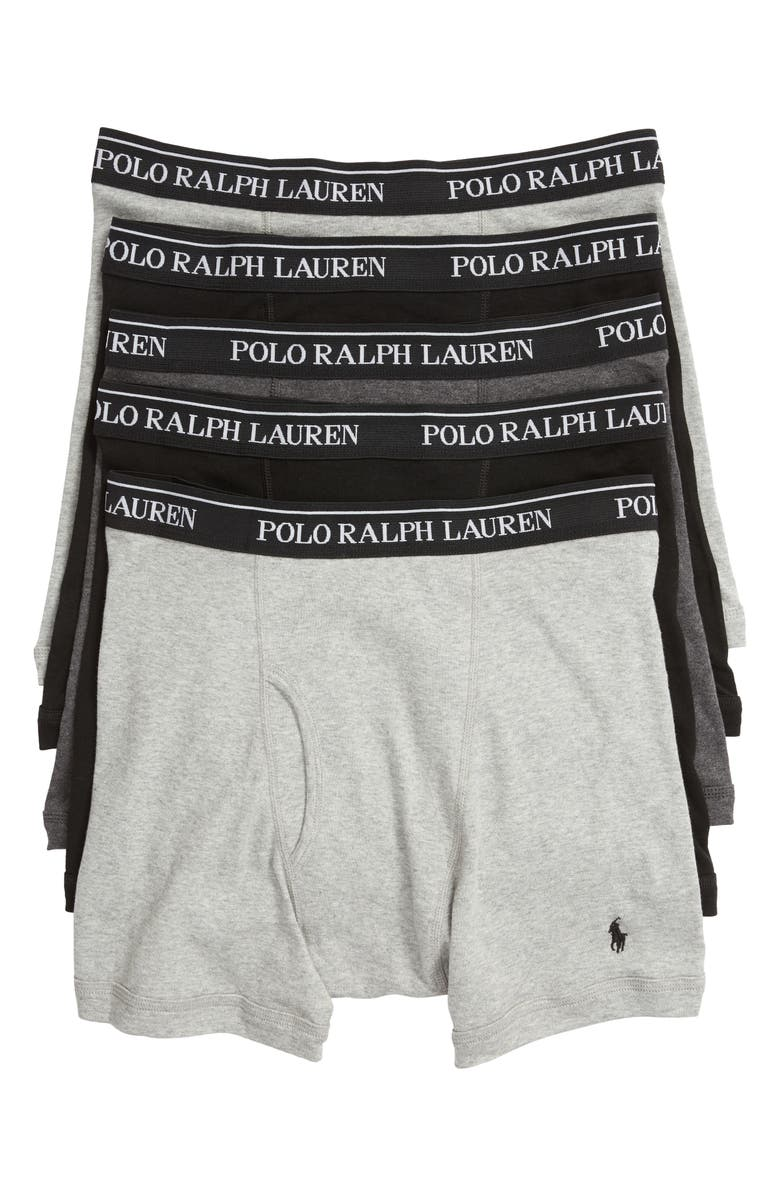 POLO RALPH LAUREN 5-Pack Cotton Boxer Briefs, Main, color, 2ANDHTH/MA