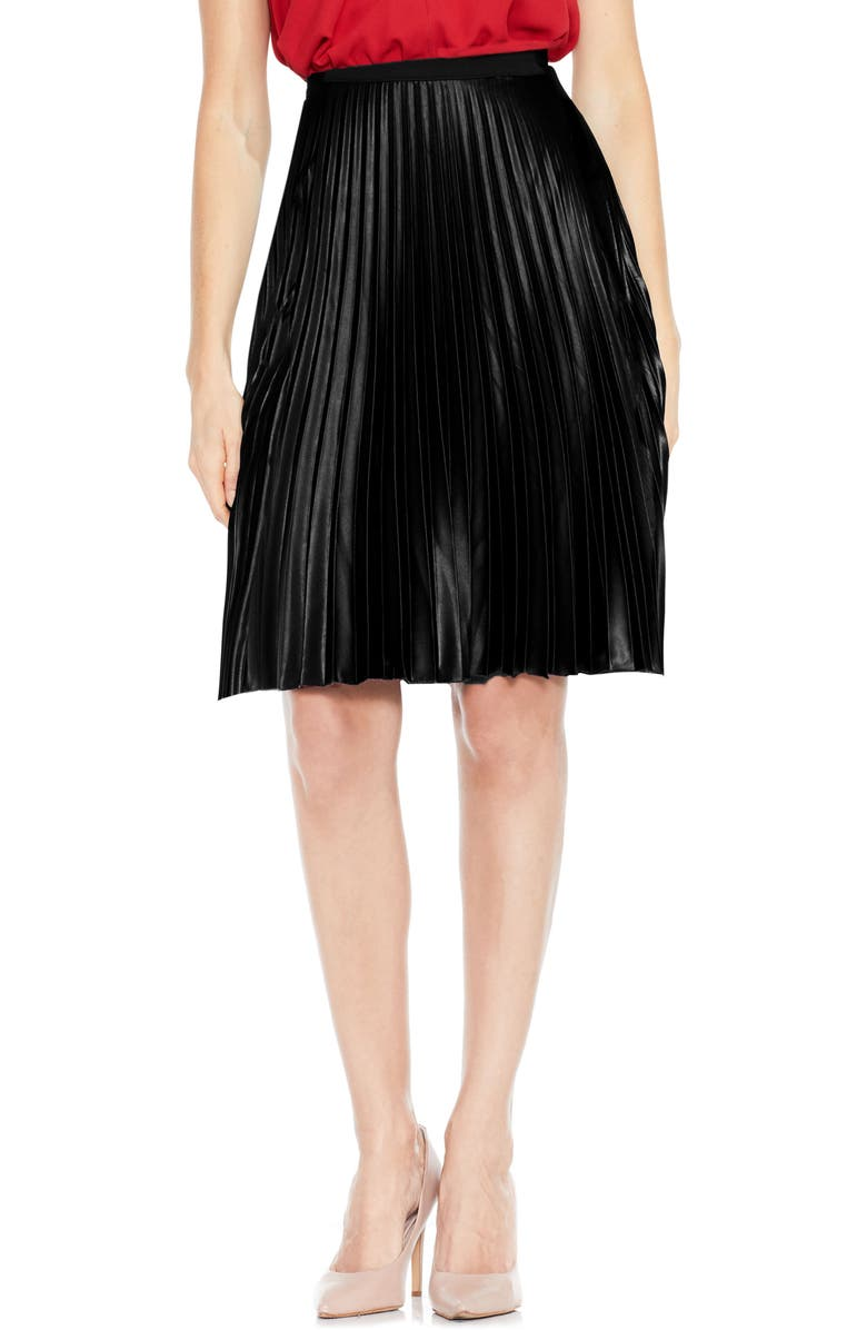 VINCE CAMUTO Lacquered Pleated Skirt, Main, color, 006