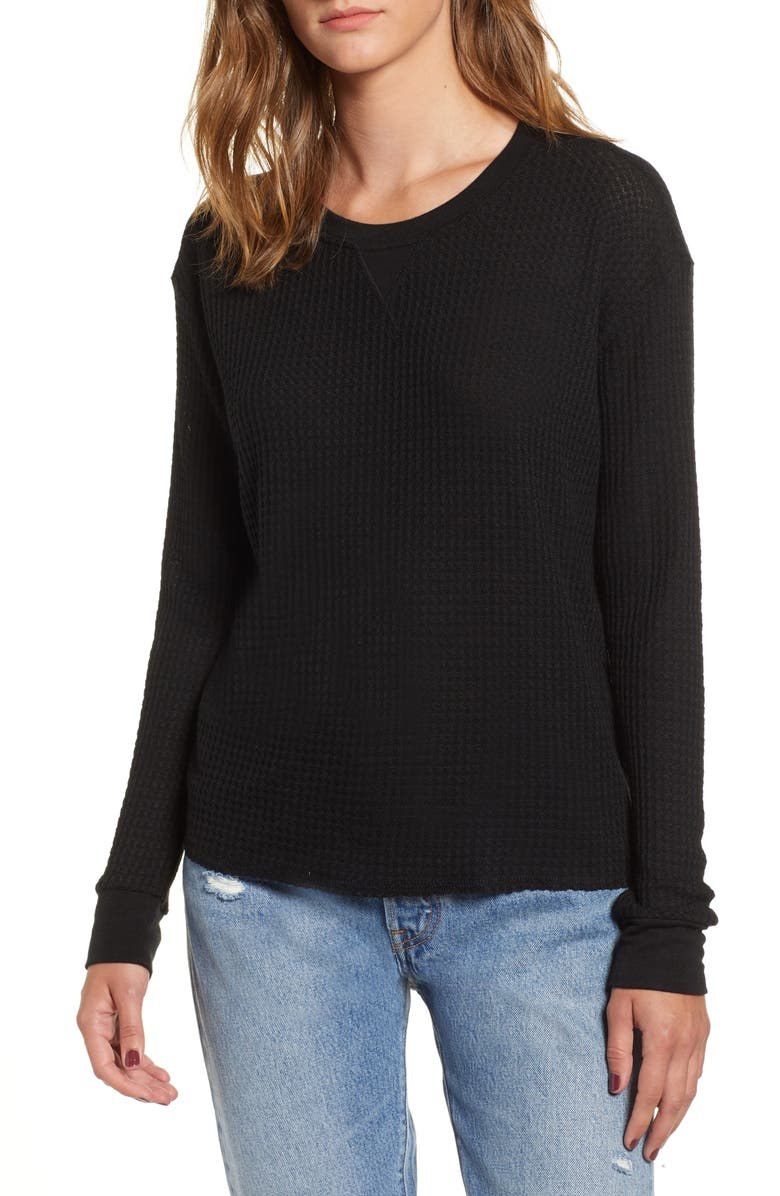 RVCA Cited Waffle Knit Pullover Top, Main, color, 001