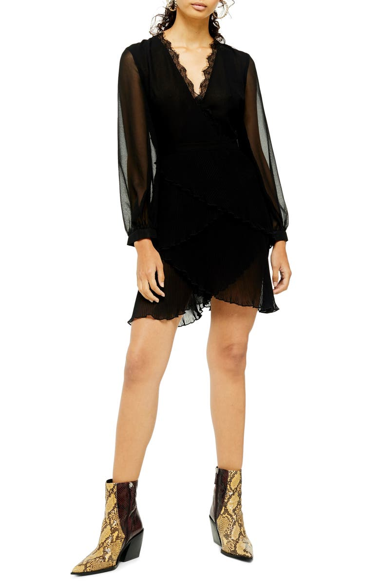 TOPSHOP Long Sleeve Pleat Minidress, Main, color, 001