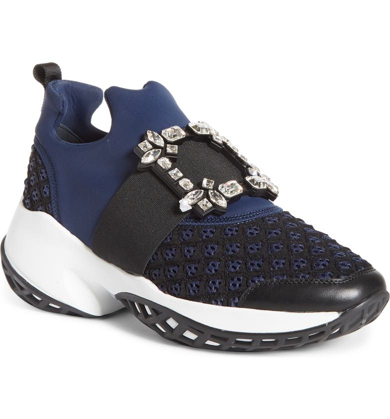 ROGER VIVIER Viv Crystal Buckle Slip-On Sneaker, Main, color, NAVY/ BLACK