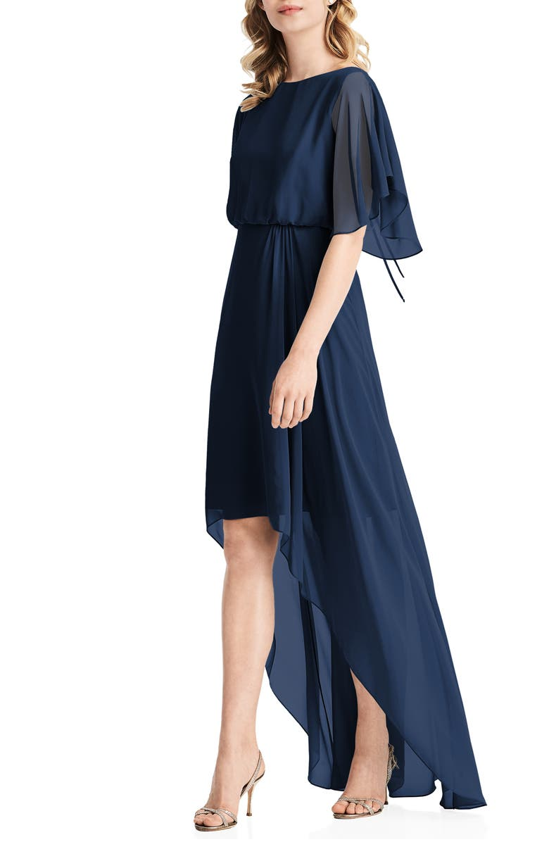 JENNY PACKHAM Flutter Sleeve High/Low Chiffon Gown, Main, color, MIDNIGHT