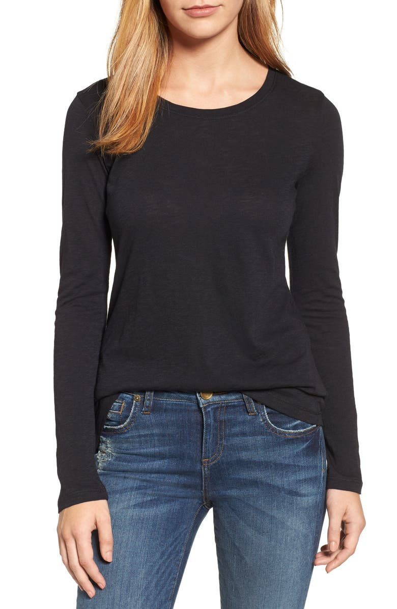 CASLON<SUP>®</SUP> Long Sleeve Crewneck T-Shirt, Main, color, BLACK
