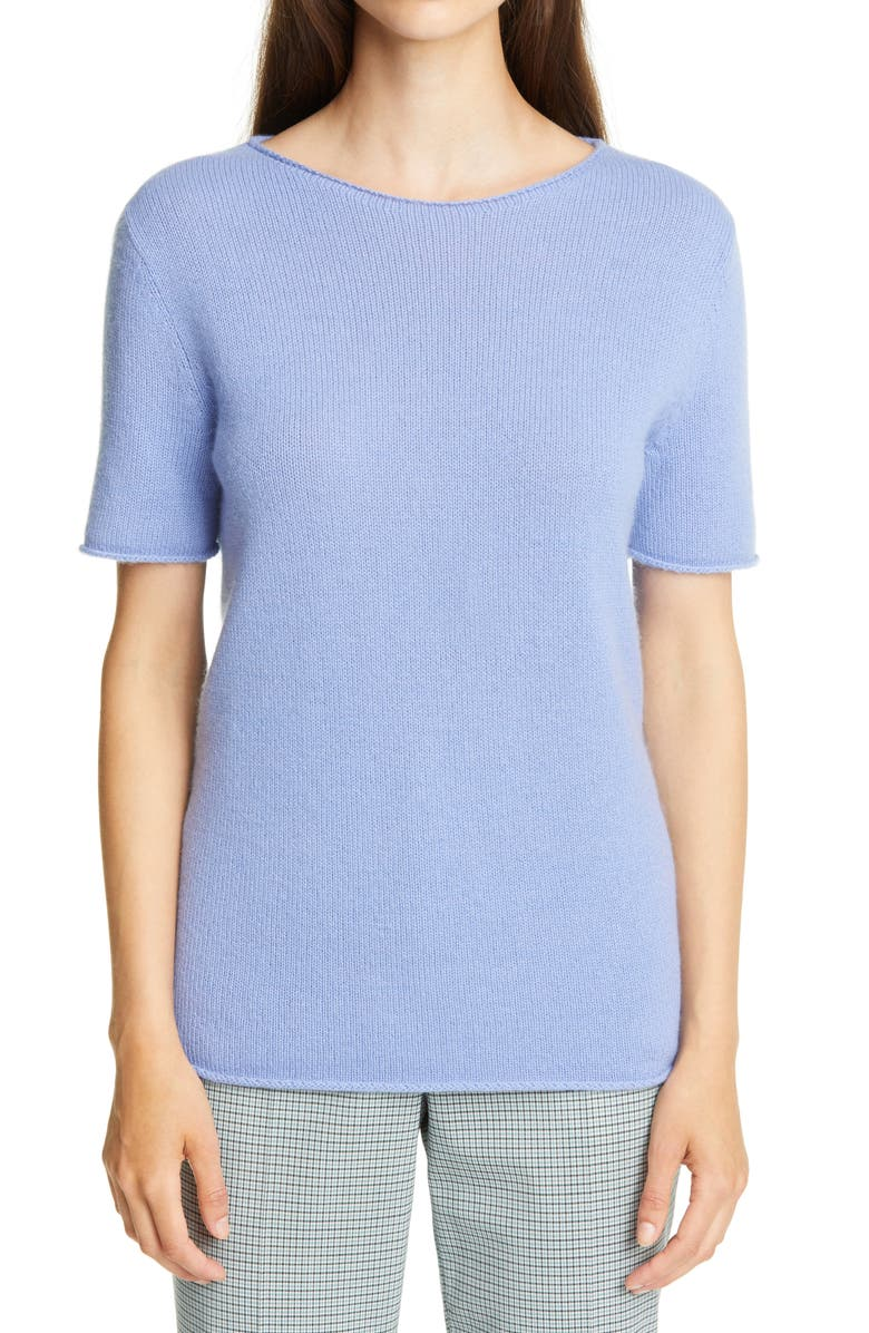 THEORY Tolleree Short Sleeve Cashmere Sweater, Main, color, PERIWINKLE