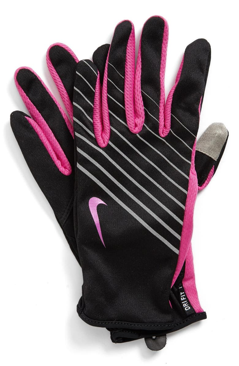 NIKE 'Tech' Dri-FIT Running Gloves, Main, color, 001