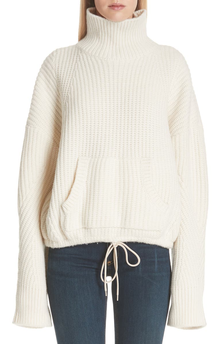 UNDERCOVER Ribbed Wool Turtleneck Sweater, Main, color, A OFF WHITE