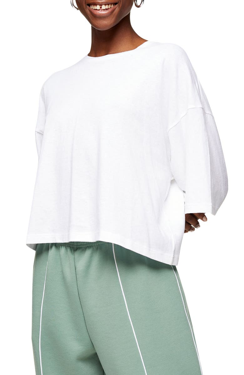 TOPSHOP Washed Boxy T-Shirt, Main, color, WHITE