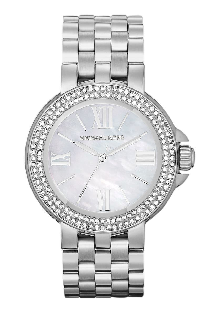 MICHAEL MICHAEL KORS Michael Kors 'Lucy' Crystal Bezel Bracelet Watch, Main, color, 040