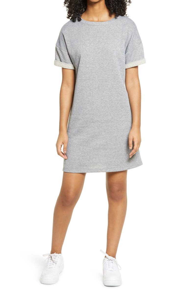 BP. French Terry T-Shirt Dress, Main, color, 030