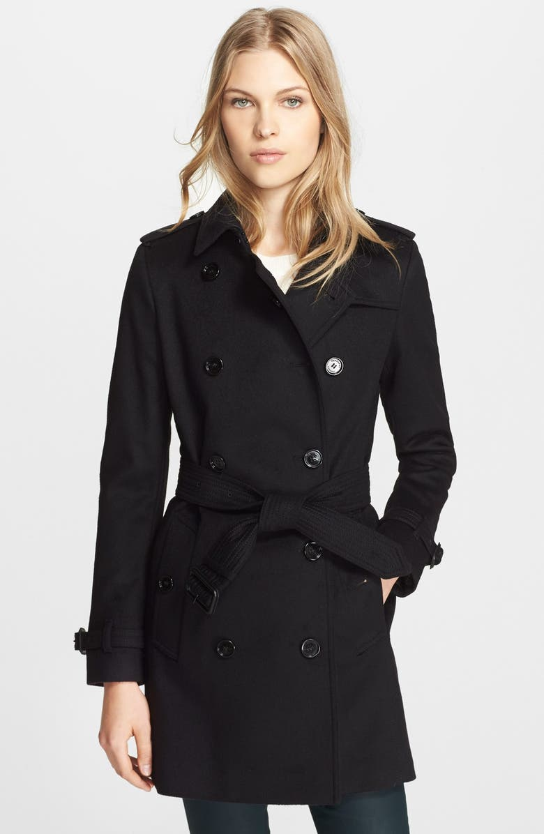BURBERRY LONDON 'Kensington' Double Breasted Trench Coat, Main, color, 001