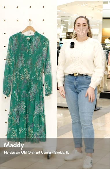 Serendipity Floral Metallic Micropleated Long Sleeve Dress, sales video thumbnail