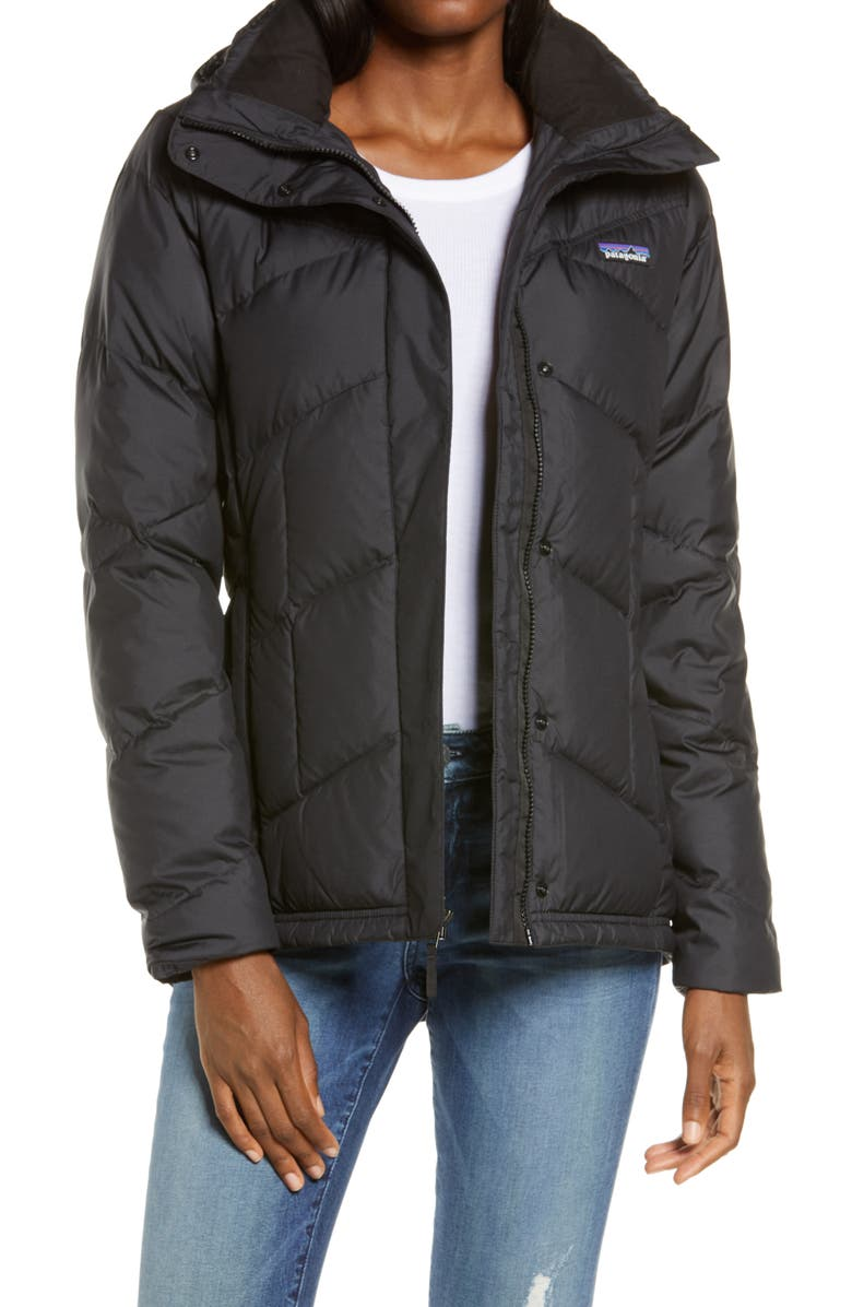 PATAGONIA Down With It Hooded Down Jacket, Main, color, BLK BLACK
