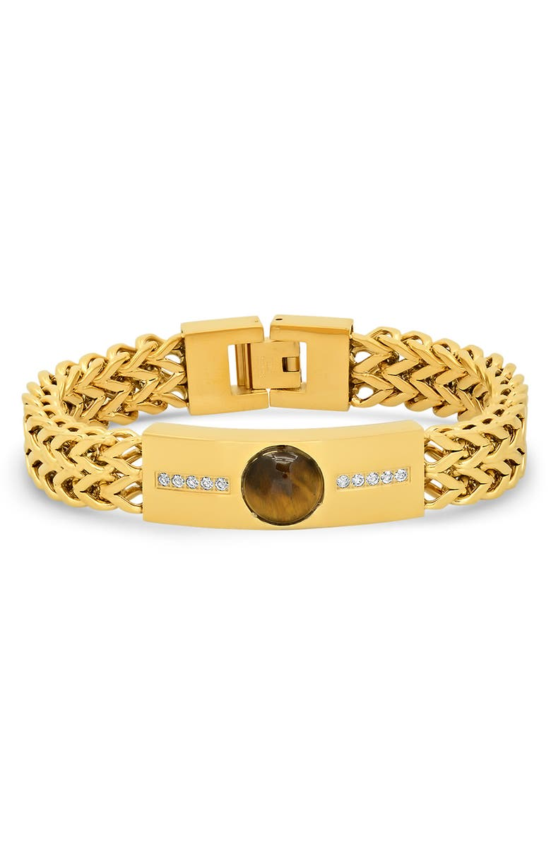 HMY JEWELRY 18K Yellow Gold Plated Wheat Chain Bracelet, Main, color, YELLOW