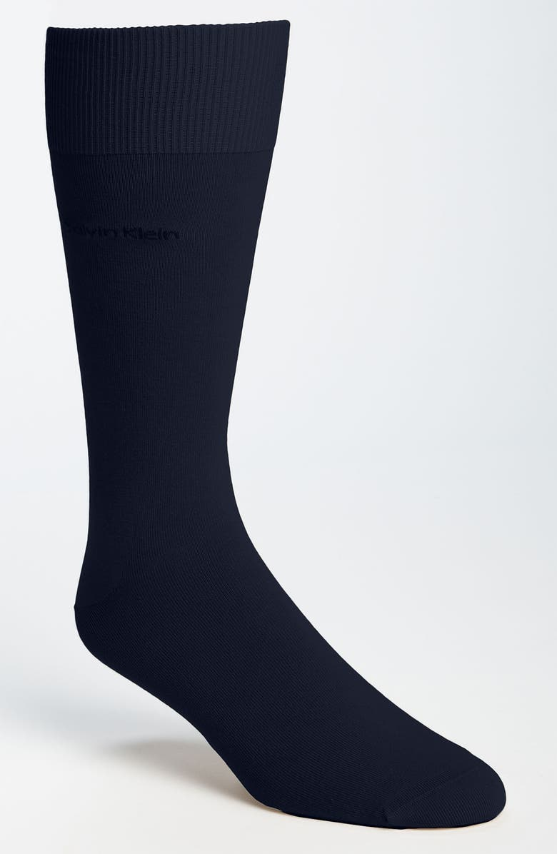 CALVIN KLEIN Giza Crew Socks, Main, color, NAVY