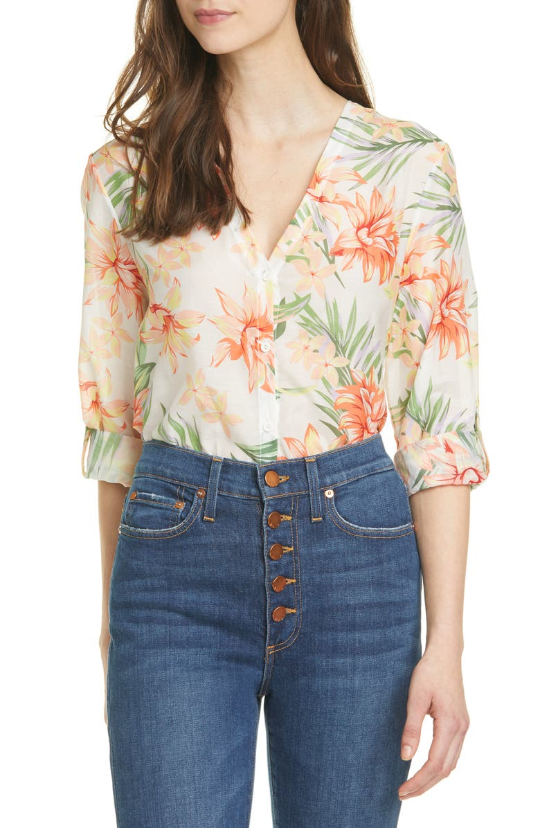 ALICE AND OLIVIA Colby Floral Shirt, Main, color, HIBISCUS FLORAL