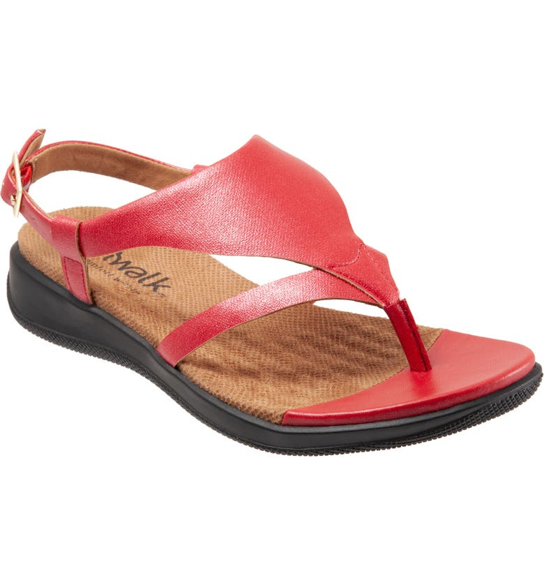 SOFTWALK<SUP>®</SUP> Temara Sandal, Main, color, RED FAUX LEATHER