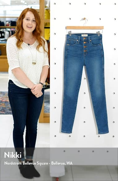 Button Front High Waist Skinny Jeans, sales video thumbnail
