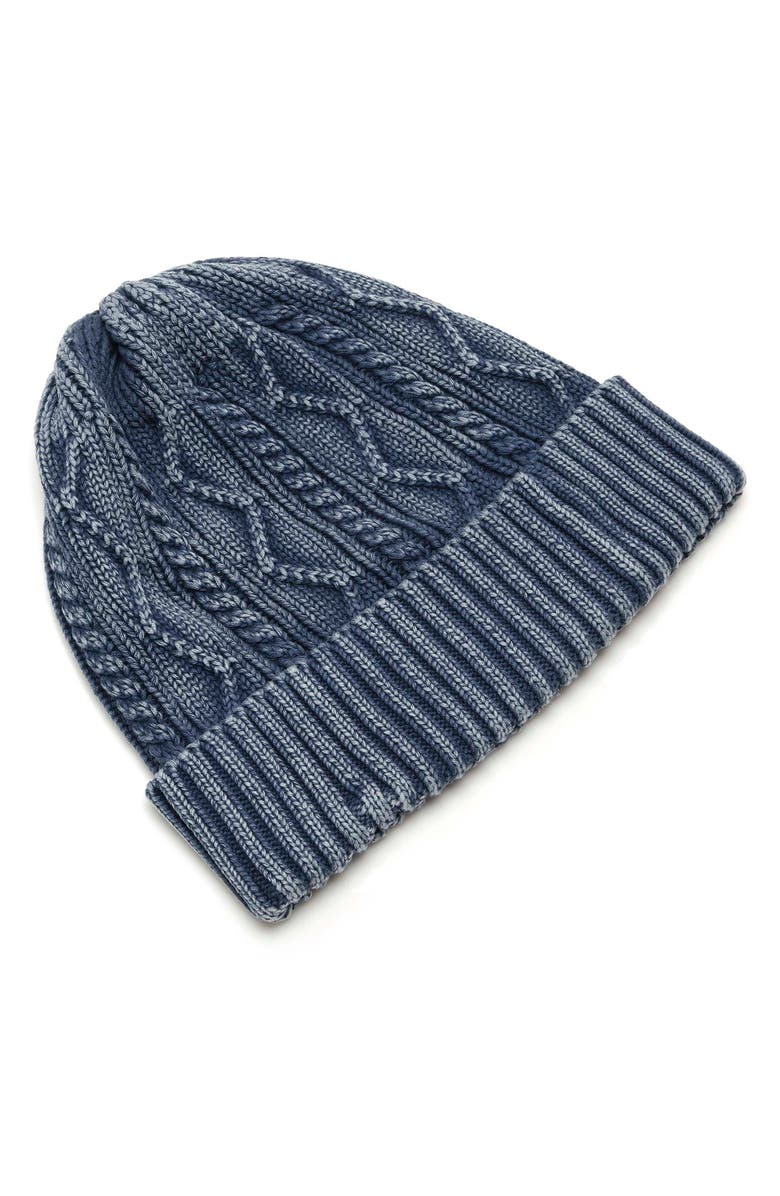 FREE PEOPLE Storm Washed Cotton Cable Beanie, Main, color, NAVY