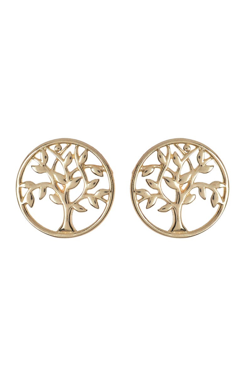 CANDELA JEWELRY 14K Yellow Gold Tree of Life Stud Earrings, Main, color, GOLD